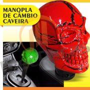 Manopla Bola Câmbio Caveira Small Vermelha Tunning Universal Skull