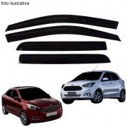 Calha de Chuva Defletor Fumê Ka Novo Hatch Sedan 2014 até 2015 4 Portas