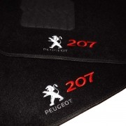 Tapete Carpete Personalizado Logo Bordada Peugeot 207 2007 até 2013