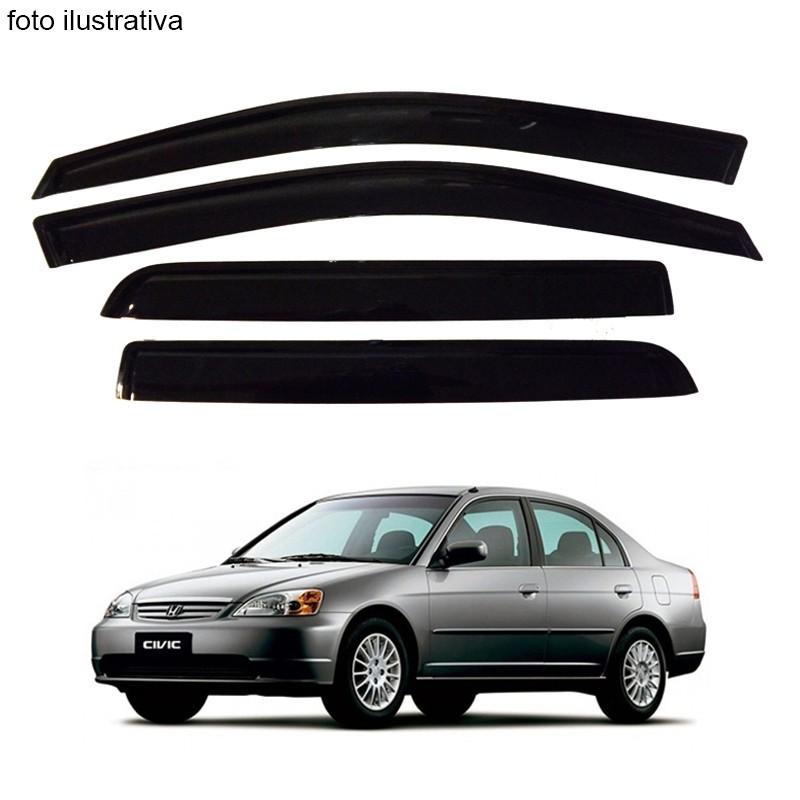 Calha de Chuva Defletor Fumê Civic 2001 até 2006 4 Portas