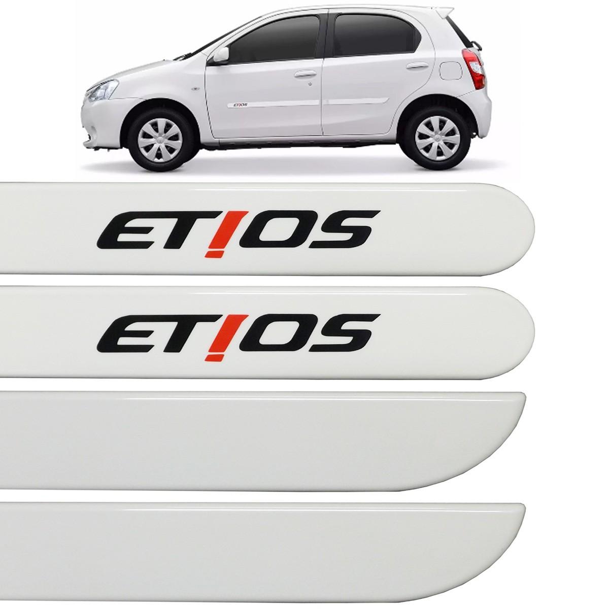 Jogo Friso Lateral Etios Hatch e Sedan 2012 até 2017 Branco Bossa Nova