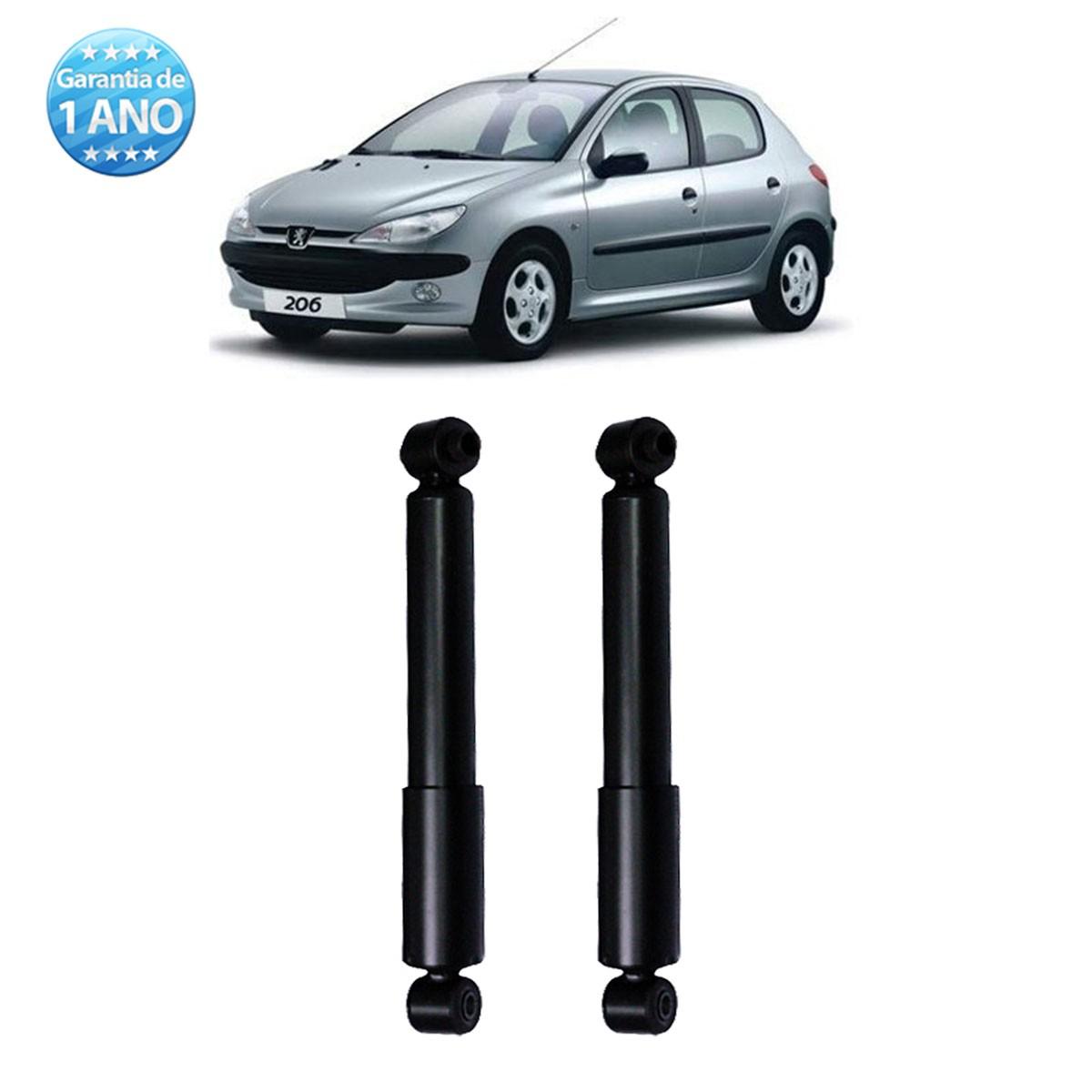 Par de Amortecedores Traseiro Remanufaturados Peugeot 206 e 207 1999 Até 2010