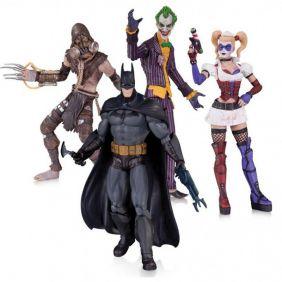 The Joker, Harley Quinn, Batman and The Scarecrow ( Coringa, Arlequina e Espantalho ) - Batman: Arkham Asylum - DC Collectibles