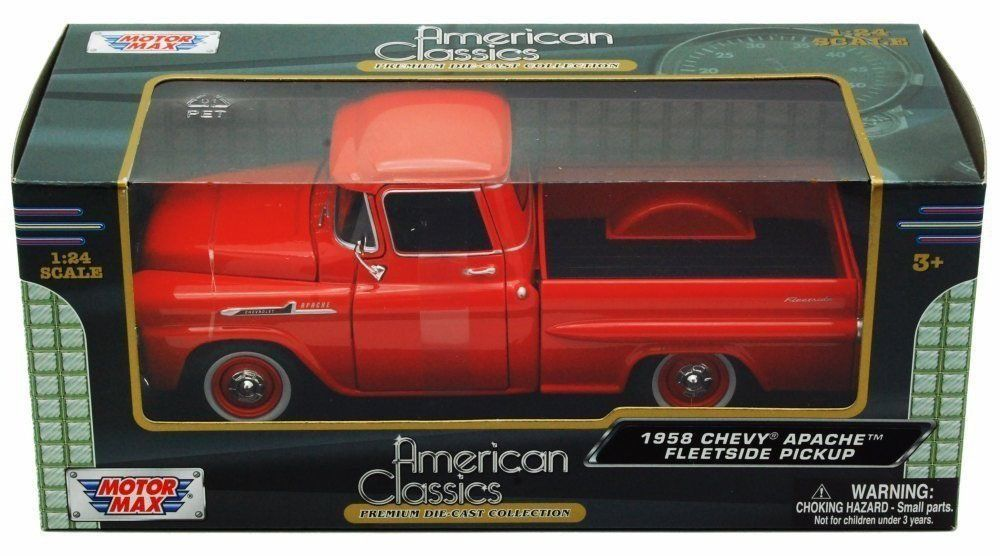 1958 Chevrolet Apache Fleetside Pickup - Escala 1:24 - Motormax