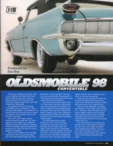 """1959 Oldsmobile """"98"""" Closed Convertible - Escala 1:18 - Sun Star"""