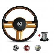 Volante Modelo Rallye dourado Volkswagen Chevrolet Fiat