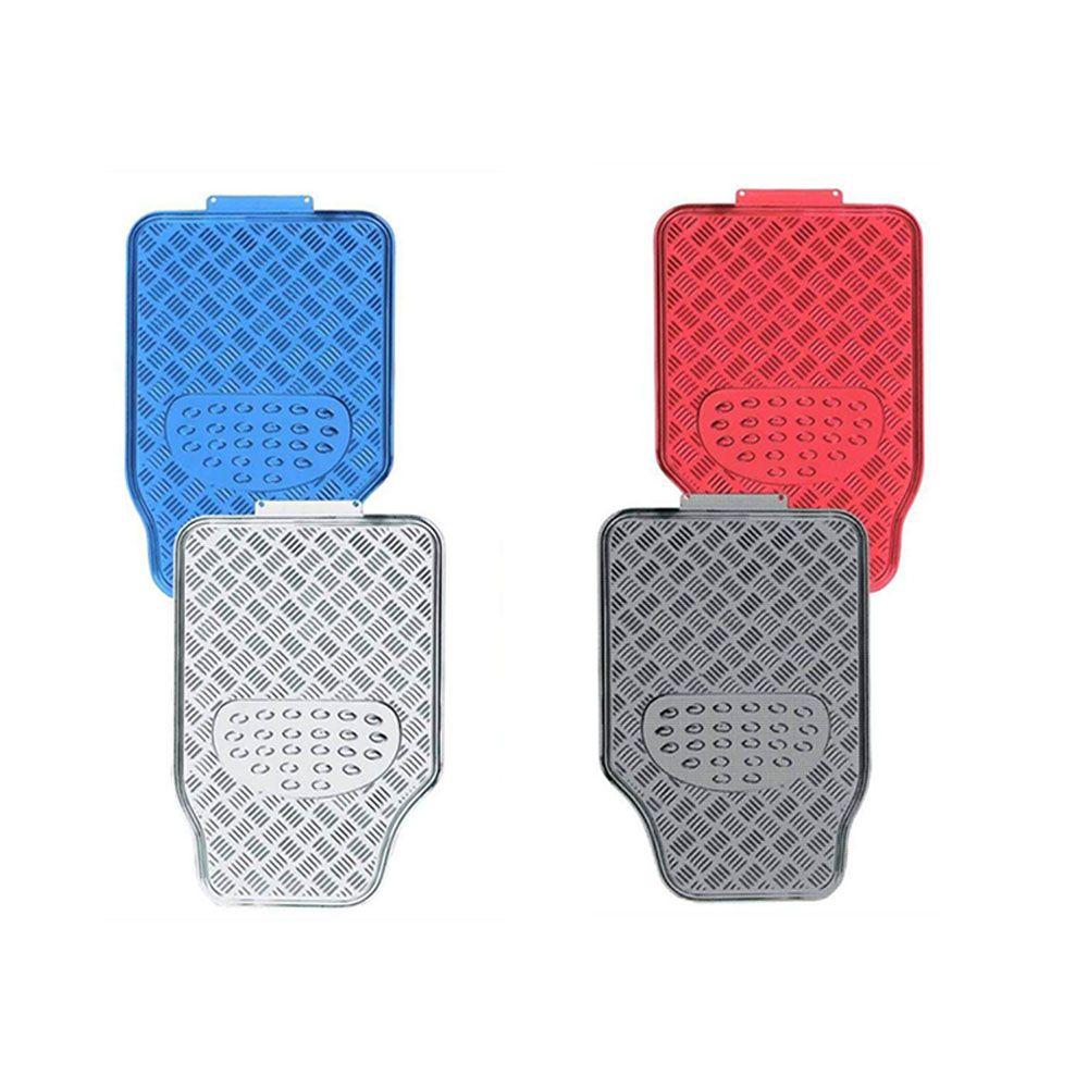 Jogo Tapete Aluminio Cromado Azul Vermelho Carbono tuning 4pç