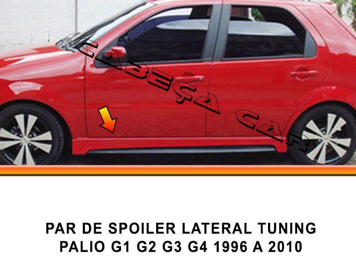Par de spoiler lateral tuning palio siena G1 G2 G3 G4 96 até 2010 feito em fibra