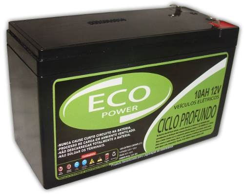 Bateria Eco Power Selada Gel 10ah 12v Alarme, Bike Elétrica, Nobreak