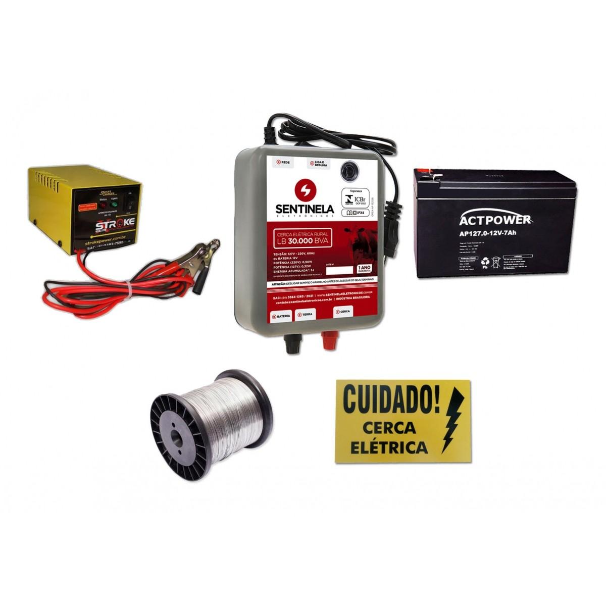 kIt Eletrificador de Cerca Rural 30km Bivolt + Bateria 7ah Vrla + Carregador 3ah + Arame + Placa