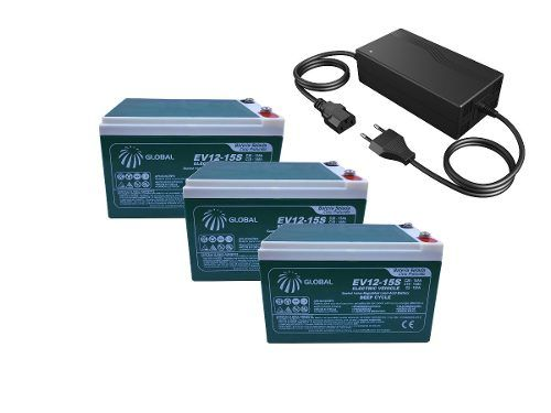 Kit 3 Bateria Global 12v 15ah Global e Carregador 36v Bike Elétrica