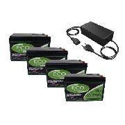 Kit 4 Bateria 12v 15ah Bike Eletrica Carregador 48v