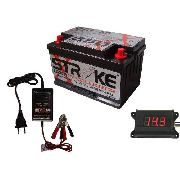 Kit Bateria Som Stroke Power 100ah Voltimetro Digital Carregador Inteligente Flutuante 2ah 12v