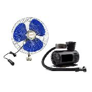 Kit Compressor Ar Pneu 12v Ventilador Painel Automotivo 12v