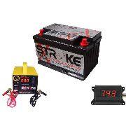 Kit Bateria Som Automotivo 100ah Voltímetro Carregador 5ah