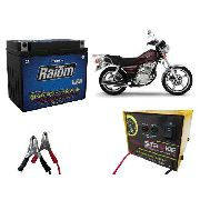 Kit Bateria Moto Raiom Yb7-a E Carregador Inteligente 3ah Intruder