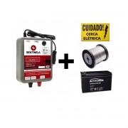 Eletrificador Cerca Rural 30km+ Arame + Placa Cuidado. Combo