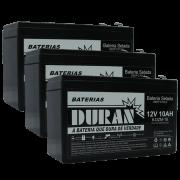 Kit 3 Baterias Selada Gel Ciclo Profundo Duran 10ah 12v 6-dzm-10