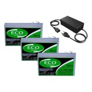 Kit 3 Bateria Eco Power 12v 16ah 6-dzm-12 Para Bike Elétrica Patinete Eletrico E CARREGADOR INTELIGENTE 36v 2ah