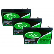 Kit 3 Baterias 15ah 12v Eco Power Ciclo Profundo