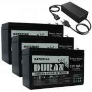 Kit 3 Baterias Selada Gel Ciclo Profundo Duran 10ah 12v 6-dzm-10 e Carregador 36v