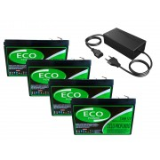 Kit 4 Bateria 12v 15ah Bike Eletrica Carregador 48v