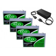 KIT 4 BATERIA ECO POWER 12V 16AH 6-DZM-12 PARA BIKE ELÉTRICA PATINETE ELETRICO E CARREGADOR INTELIGENTE 48V 2AH