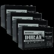 Kit 4 Baterias Selada Gel Ciclo Profundo Duran 10ah 12v 6-dzm-10