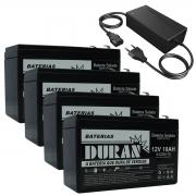 Kit 4 Baterias Selada Gel Ciclo Profundo Duran 10ah 12v 6-dzm-10 e Carregador 48v