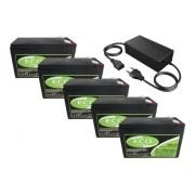 Kit 5 Bateria 6dzm10 12v 10ah Bike Eletrica Carregador 60v Eco Power