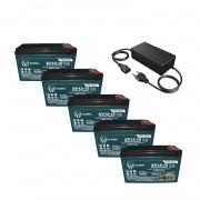 Kit 5 Baterias Gel Ciclo Profundo Global 10Ah 12v 6-dmz-10 Bike Elétrica e Carregador 60v