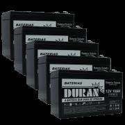 Kit 5 Baterias Selada Gel Ciclo Profundo Duran 10ah 12v 6-dzm-10