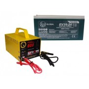 Kit Bateria Carro Arrancada 16v 24ah Carregador Bateria 16v