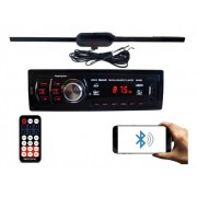 Kit Rádio Automotivo Bluetooth Mp3 Din Usb Antena Universal