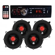 Kit Som Carro Radio Mp3 Bluetooth Usb + 4 Alto Falante 5'