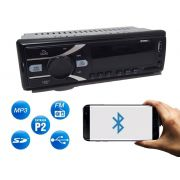 Rádio Automotivo Cinoy com Bluetooth Toca Rádio Fm Carro Mp3 Pen Usb Sd Aux Atender Chamadas