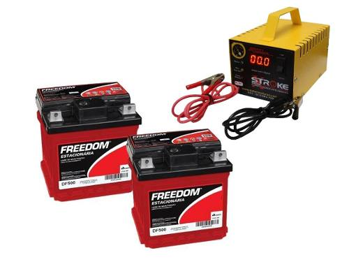 Kit 2 Bateria Freedom Df500 40ah Carregador 5ah 24v Nobreak