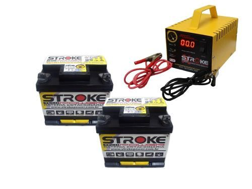 Kit 2 Bateria Estacionária 45ah Nobreak Carregador 5ah 24v