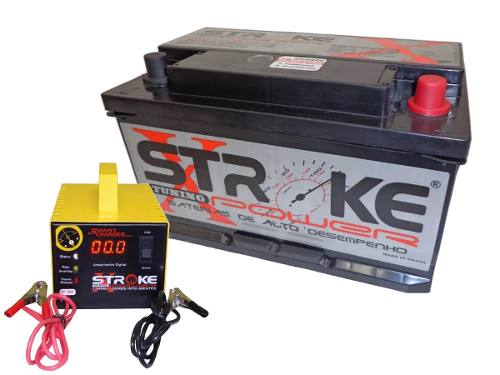 Kit Bateria Som Automotivo 100ah Carregador 5ah Stroke Power