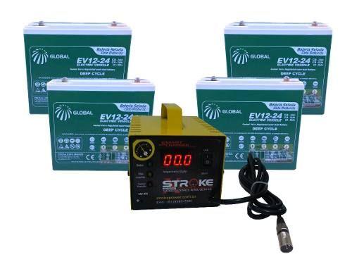 Kit 4 Bateria 24ah Carregador 5ah 48v Scooter Ebike 6dzm20