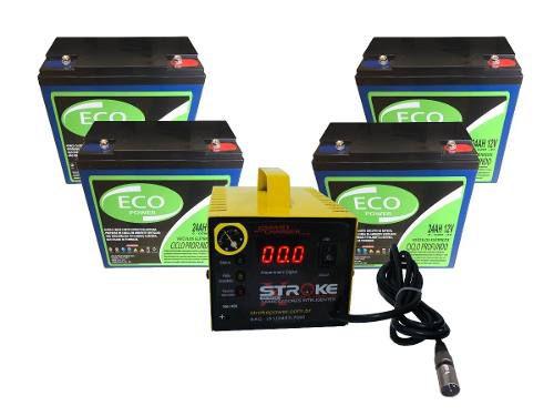 Kit 4 Bateria 24ah Carregador 5ah 48v 6dzm20 Scooter Ebike