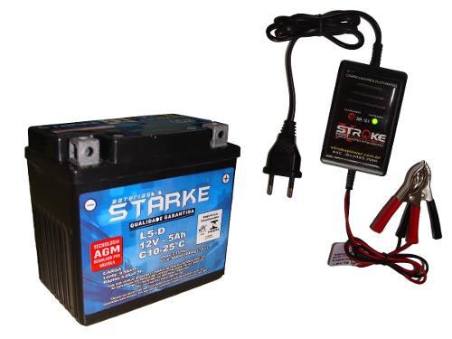 Kit Bateria Moto Ytx5-lbs 5ah 12v Carregador Bateria Inteligente Flutuante Cg125