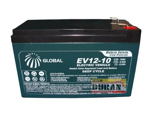 Bateria Global 10ah 12v Gel VRLA AGM Ciclo Profundo Bike Elétrica 6dzm10 Motos Elétrica Carros Elétricos