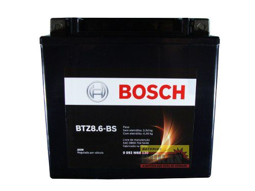 Bateria Moto Bosch Btz8.6-bs 8,6ah 12v Bmw S 1000rr Honda Cb (YTZ10S)