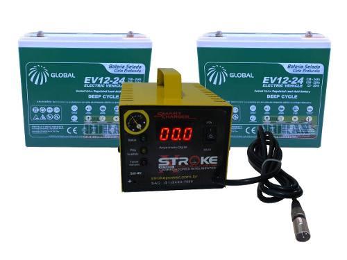 Kit 2 Bateria 24ah Carregador 5ah 24v Ortobras Freedom