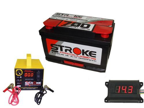 Kit Bateria Som Automotivo 90ah Voltímetro Carregador 5ah
