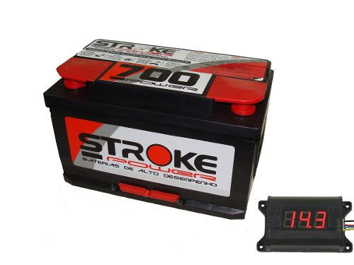 Kit Bateria Som Automotivo Stroke 90ah 12v Voltímetro Som