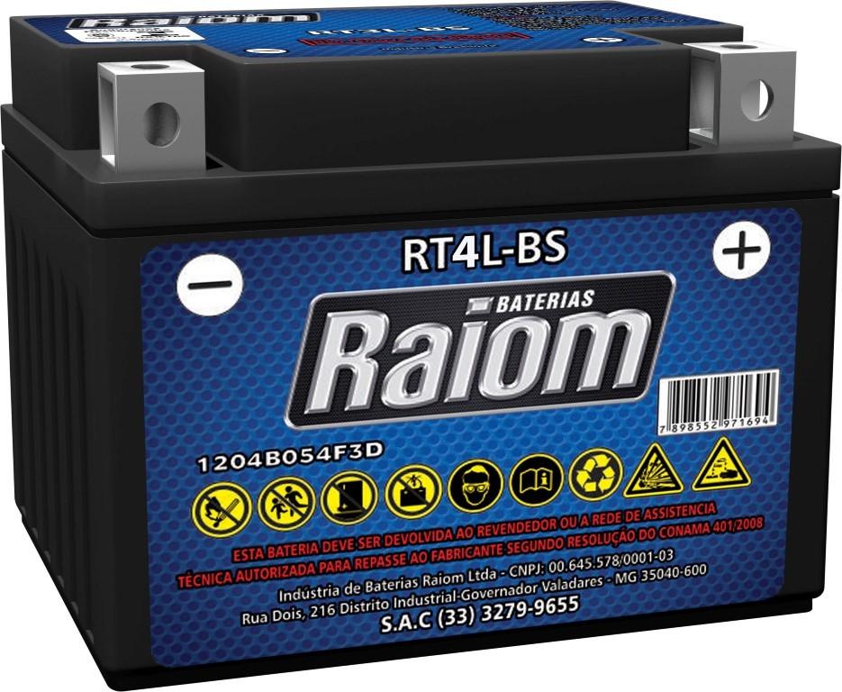 Bateria de Moto Raiom Yt4l-bs 3ah 12v Selada (Rt4l-bs)