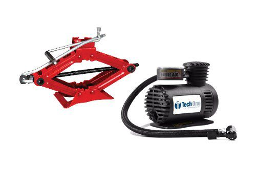 Kit Compressor Ar 12v Macaco Sanfona 1t Carro Tech One