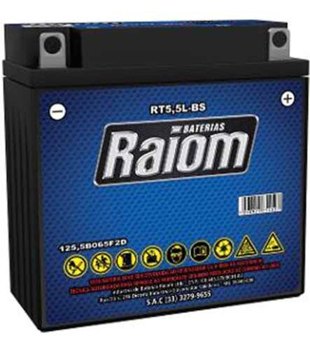 Kit Bateria Moto Raiom 12n5,5-3b Carregador Inteligente 3ah Ybr125